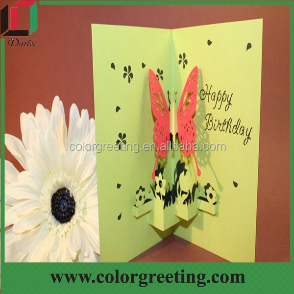 Kraft Paper Greeting Card Customized Cheap Lace Cutting Birthday ...