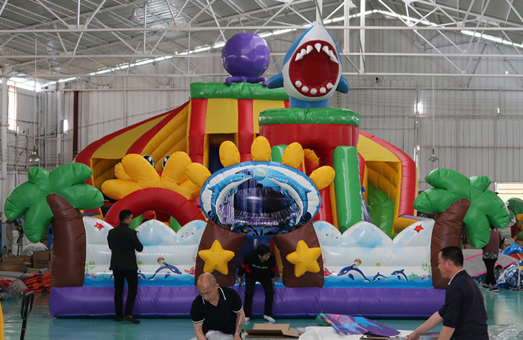 High Quality Commercial outdoor inflatable playground, Shark Inflatable fun city inflatable shark slide