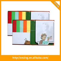 Hard cover sticky note pad with 5 color sticky flag