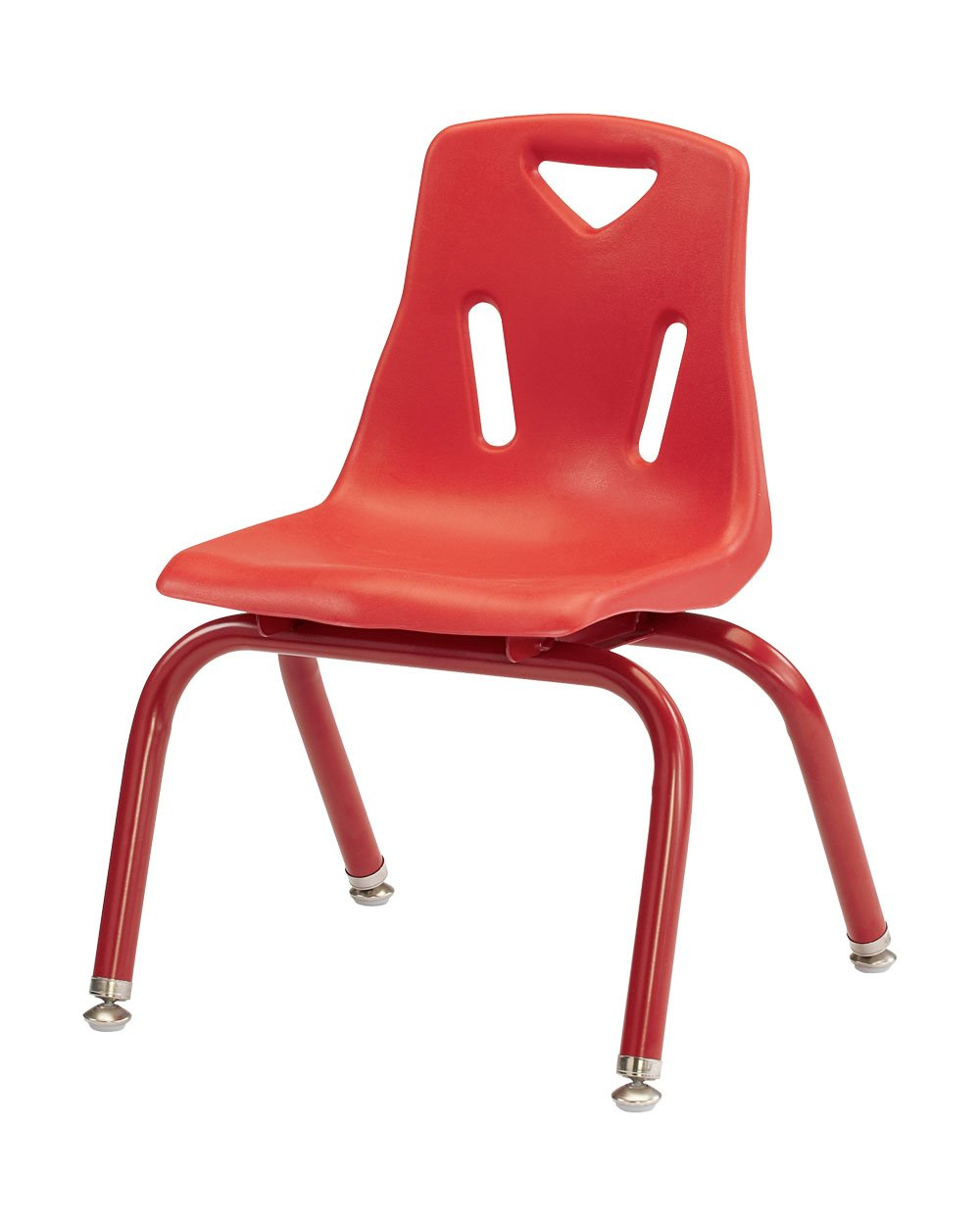 """Berries 8118JC6008 Stacking Chairs with Powder-Coated Legs, 8"""" Ht, 15.5"""" Height, 17.5"""" Wide, 16.5"""" Length, Red (Pack of 6)"""