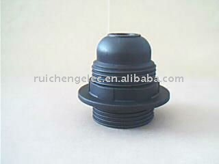 E27 plastic auto locked lampholder with full threaded Skirt