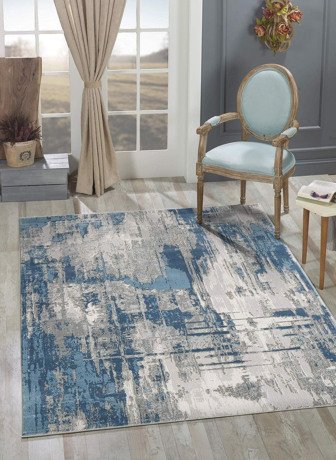 ABANI Abstract Art Pattern Modern Large Area Rug - 8x10, Polypropylene/Polyester, Turkish, Machine Made, Blue & Grey, Vista Collection (VST130A-8)