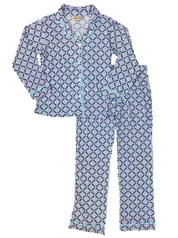 e159ccf57d Get Quotations · Warm Milk Womens Barcelona Pattern Pajamas Navy Purple    Blue Sleep Set