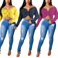 81129-MX9 3 colors sexy women clothing plus size crop tops for women