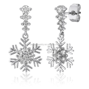 Snowflakes Earrings With Diamond Gold Designs For S And Kids Snowflake Rhinestone