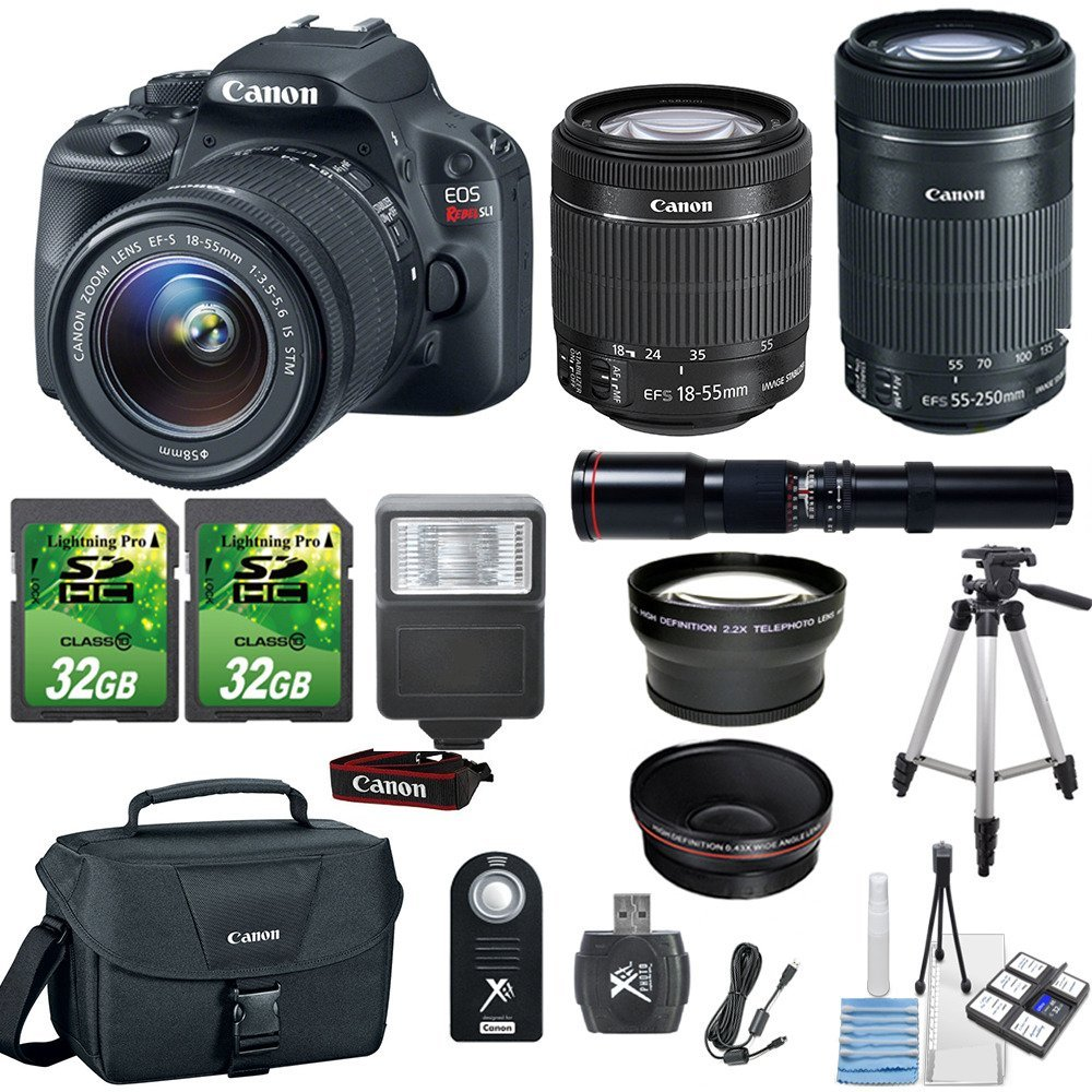 Canon EOS Rebel SL1 18MP Digital SLR DSLR Camera+ Canon 18-55mm IS STM Lens+ Canon 55-250mm STM Lens+500mm Preset Lens+ 2pc 32GB Memory Cards +Flash+ Canon Case + Telephoto and Macro Aux Lens