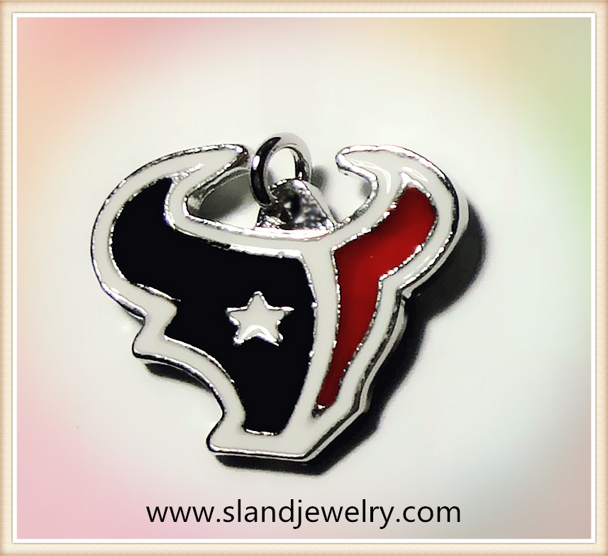 Alibaba China factory free shipping hot sale zinc alloy enamel houston texans charm