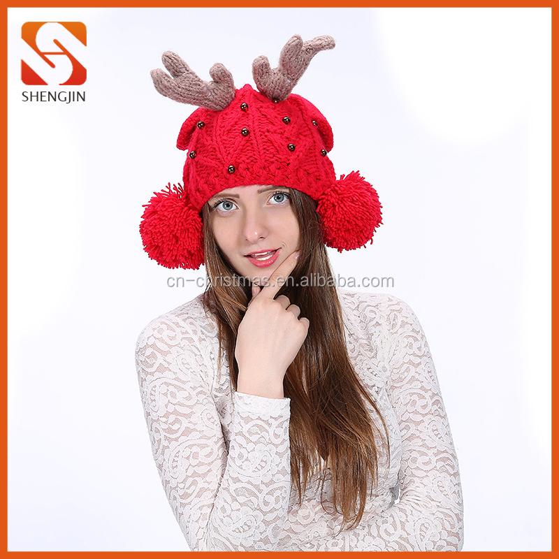 Comercio al por mayor Reindeer Antler Gorro de Ganchillo Rojo de ...