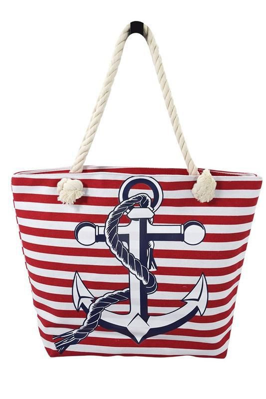 Rope Handle Tote Cotton Tote Bag Nautical Navy Sailor Striped ...