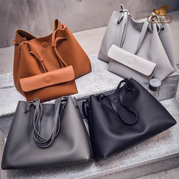 Latest black tote bag leather plain shoulder bag ladies handbag set 2 pieces c1c511038526e