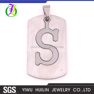 IMG 3444 Yiwu Huilin Jewelry DIY 26 Letter Alphabet S shape Stainless Steel Charm pendant