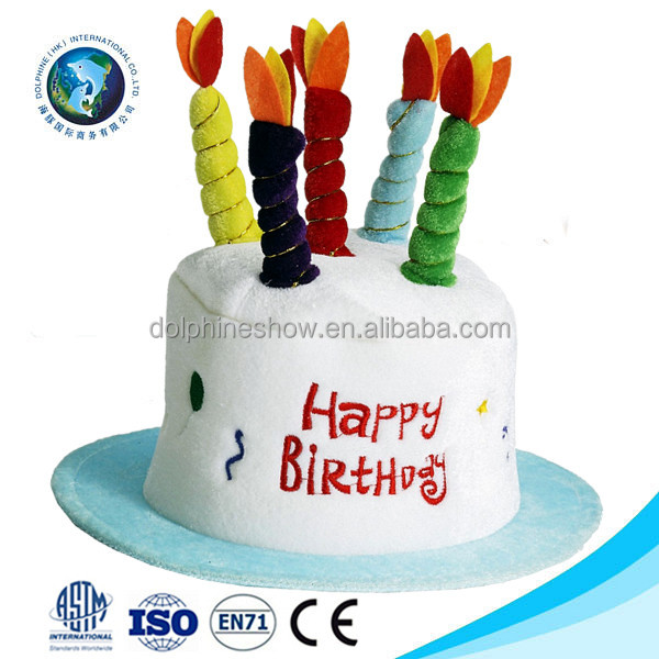 Newest Birthday Party Decoration Gift Cute Cake Shaped Hat With Candles Promotional Custom Colorful Plush Cap