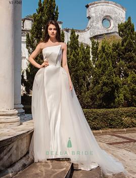 Simple Design Modern Nice Wedding Dresses Detachable Skirt Bridal ...