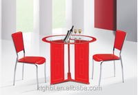 PU leather legs dining chair red circle shape surface beautiful cheap tempered glass dining table Model C299-1