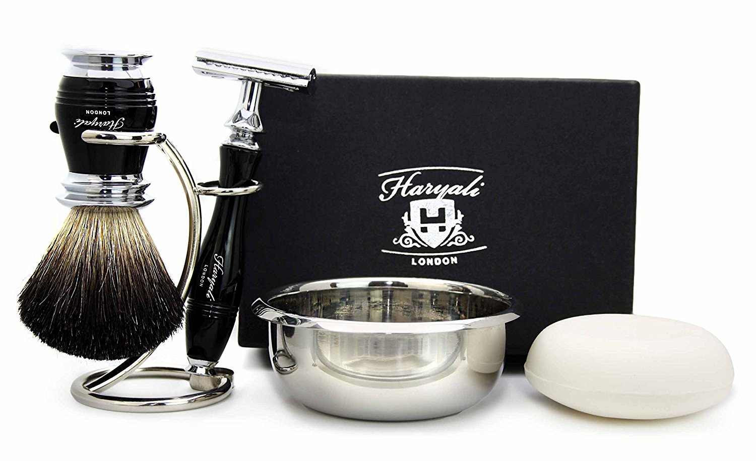 5 Pieces Shaving Set in Black( Black Badger Hair Brush, 3 Different Type of Razor to Choose, Brush & Razor Holder & Shaving Soap)Blades not Included. Perfect As a Gift (De Safety Razor)
