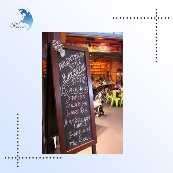 Restaurant customized shape inkjet printing menu wood stand chalkboard