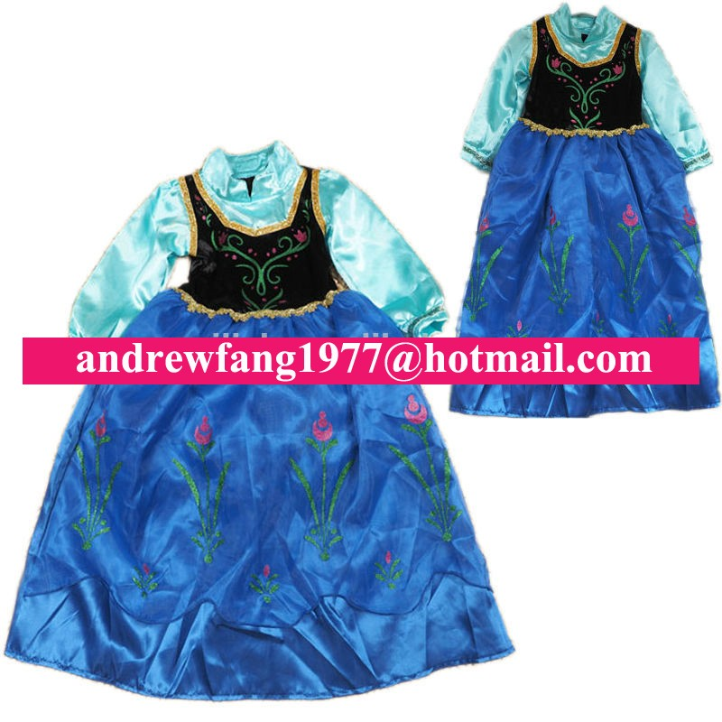 children kids Cheap frozen princess Anna dress costume MAC-0906