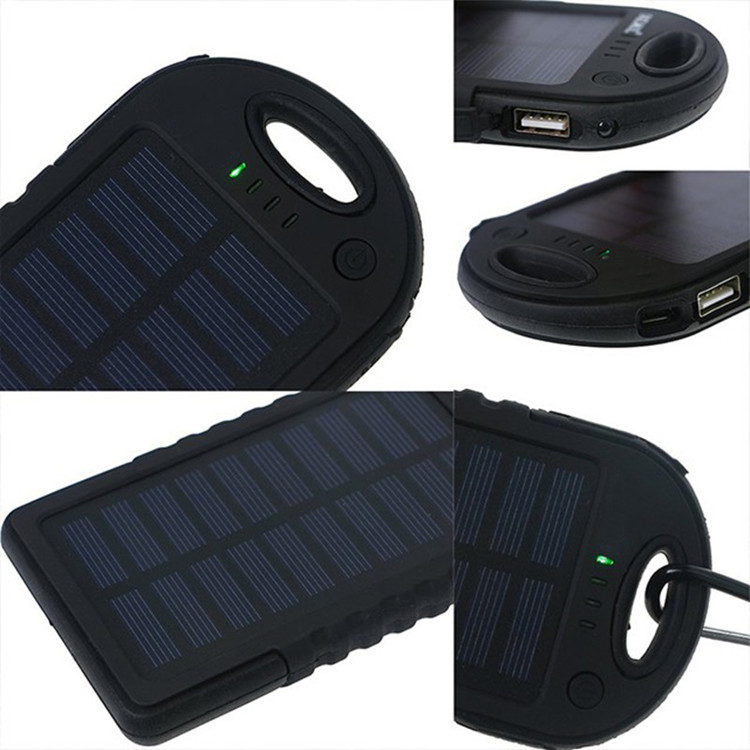 Cheapest Portable Power Bank Solar Charger 5000mah with Hook Hanger and Flashlight
