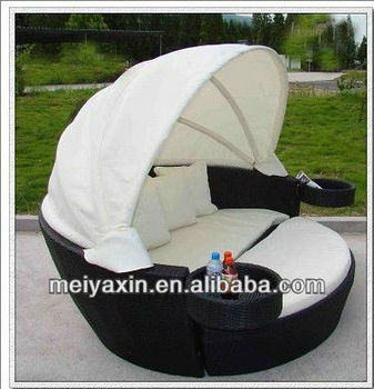 Round Outdoor Lounge Chair With Canopy