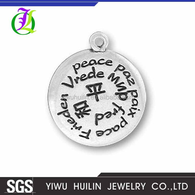 CN185099 Yiwu Huilin Jewelry Multi-language round shape peace paz paix letter of the different writing peace letters decoration