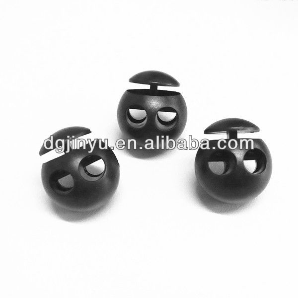 Wholesale double holes plastic elastic cord lock stopper for garments