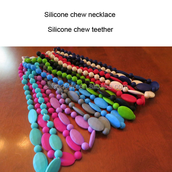 Wholesale baby silicone teething beads necklace / silicone necklace teething