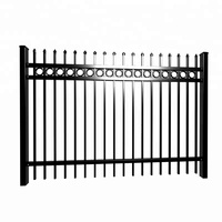 Ornamental powder coated welded iron tubular steel picket fence / ornamental diy steel fences