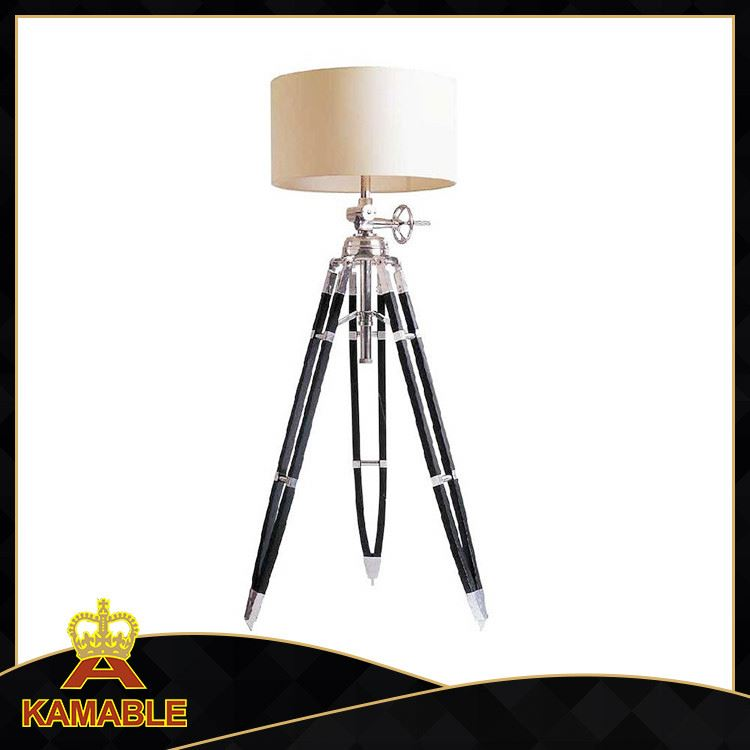 wooden base floor lamp large fabric white shade