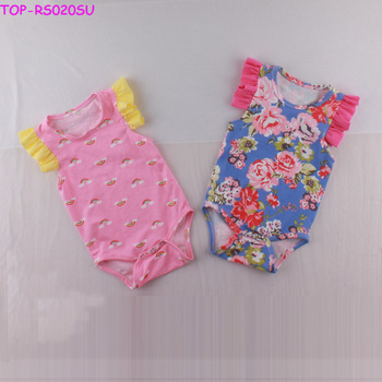 8f00809f5f8d Floral Icing Baby Romper Little Girls Rainbow Pattern Bodysuit Boutique Baby  Clothes Ruffle Rompers 2pcs Set