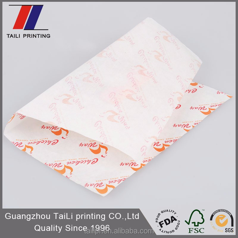 Food grade ink printed food wrapping greaseproof paper/burger wrapping paper