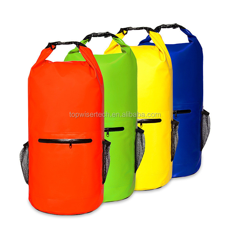 1720c2fd0540 Premium Waterproof Backpack dry bag With Zip and Mesh Bottle Pocket Adjustable  Shoulder Straps Roll Top