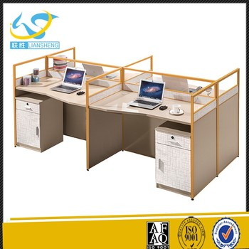 Melamine Office Partition Four Workstation With Acrylic Glass Privacy Panels