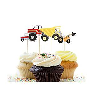 24pcs Truck Tractor Excavator Dumpers Car Cupcake Decorative Cupcake Topper for Kids Party