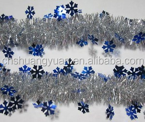 Cheap PET Glitter Tinsel With Snowflake For Xmas Decoration/Party Decoration