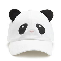 Custom Meidiney 6 Panel Cotton Printed Embroidered Panda Face Design Baseball Caps