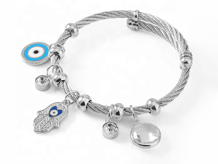 Modalen Gift Rhinestone Hamsa Eye Charm Adjustable Bracelet Steel Wire Bangle