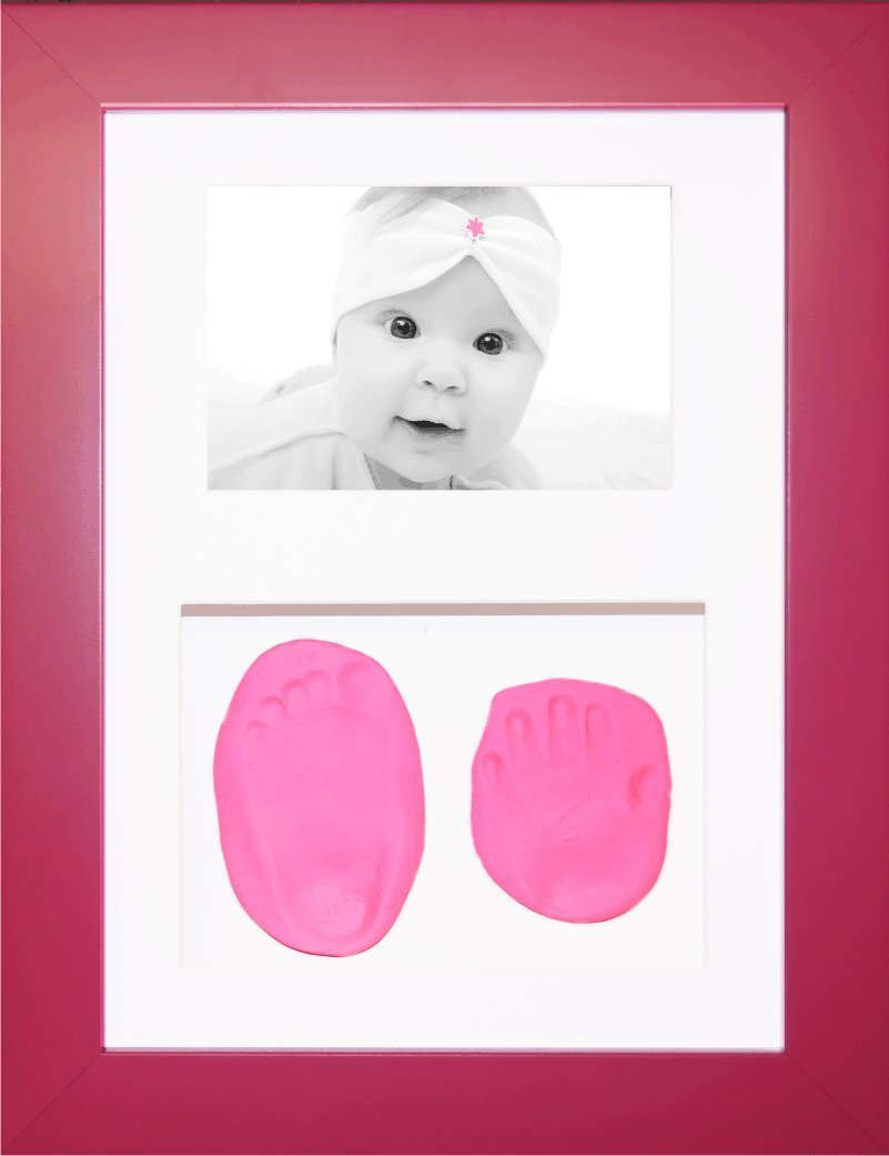 BabyRice New Baby Girl Gift Handprint & Footprint Imprints Mould Kit Pink Box Display Photo Frame & Soft Clay Dough