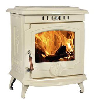 Enamel Polished Cream Color Cast Iron Indoor Freestanding Heater Wood Hearth Stove