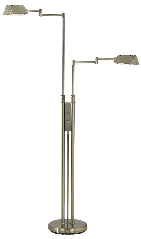 Lite Source LS-974AB Pharma Collection Floor Lamp with Antique Brass Metal Shade, Antique Brass