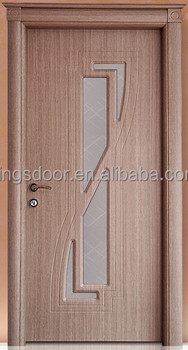 Latest Turkish Interior Design Pvc Wooden Door With Upper Frame And Glass  For Bathroom Or Bedroom