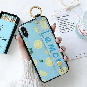 for iPhone X 6 7 8 8 Plus Summer Lemon Hand Strap Phone Case for Women