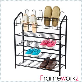 4 Tier Metal Shoe Rack With Wire Shelving