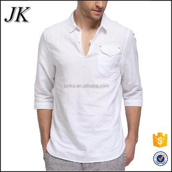 996242105 Custom Made Thailand Hippie Beach Yoga Half Sleeve Linen Chinese Button Casual  Shirt