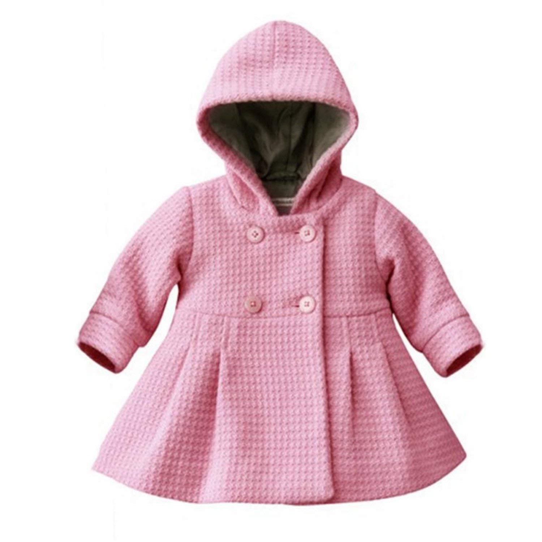 Mofgr Baby Girls Toddler Warm Fleece Hooded Coat Snow Jacket Suit Winter Clothes