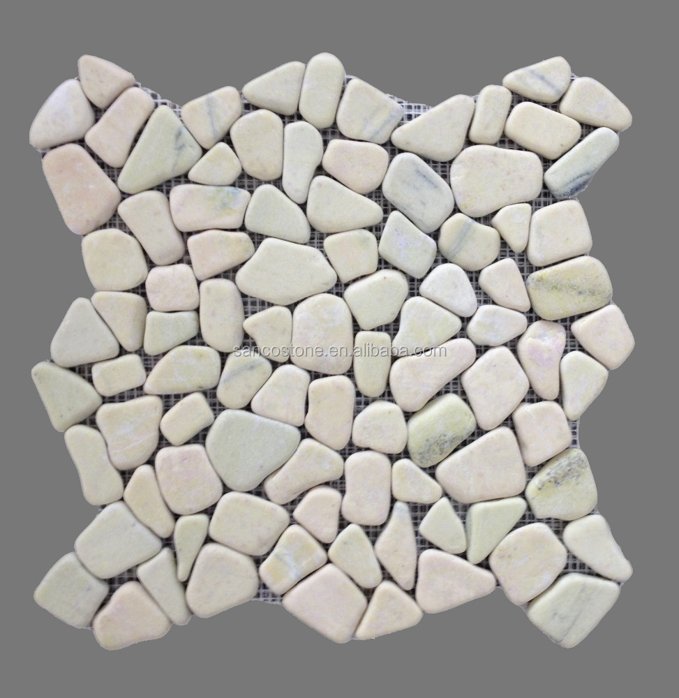 white marble pebble walkway paving stone