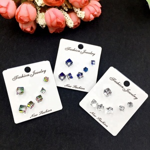 Wholesale 925 Silver Needle Zircon Earrings Women Men Fashion Korean Stud Earring Set Jewelry Wedding