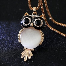 New Brand Fashion Charms Crystal Women Jewelry Gem Zircon Gold Long Chain Necklaces&Pendants Owl Necklace