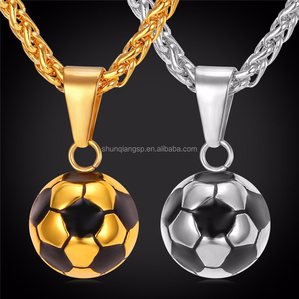 Sporty necklace football pendant with chain stainless steel soccer sporty necklace football pendant with chain stainless steel soccer necklace gold plated menwomen sport aloadofball Image collections