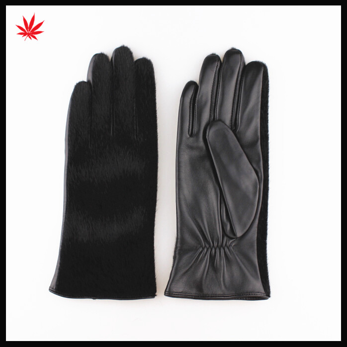 2016 hot sale fashion horse hair black sheep leather gloves