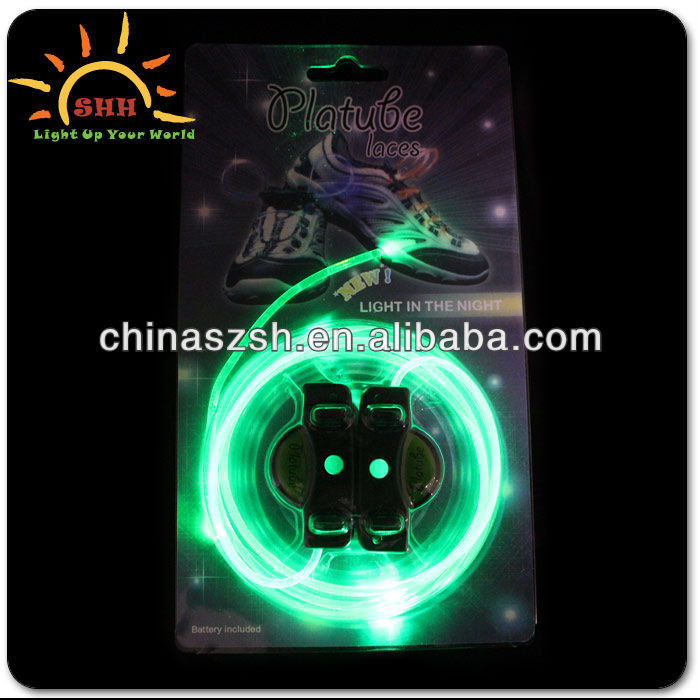Luminescent LED flashing EL neon shoelace